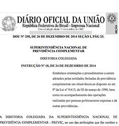 Instrução <br>PREVIC/DC nº 18 <br>de 24/12/2014